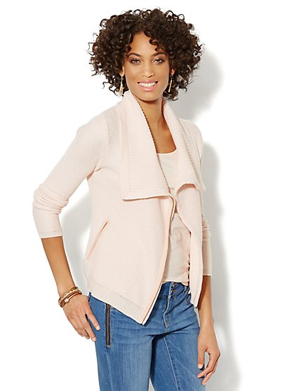 Textured Moto Cardigan  - New York & Company