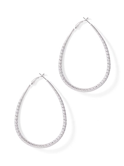 Textured Oval Hoop Earring  - New York & Company