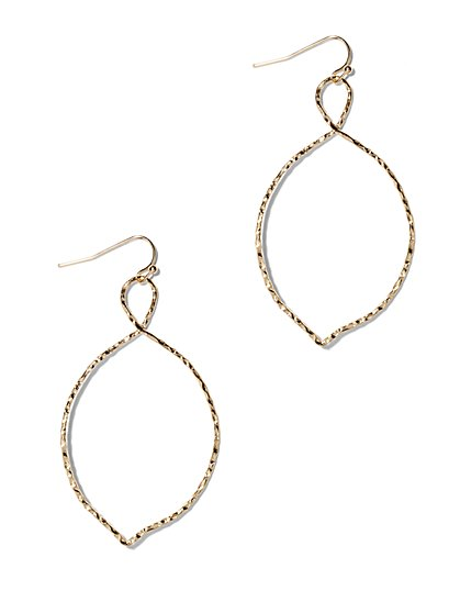 Textured Oval Twist Hoop Earring  - New York & Company