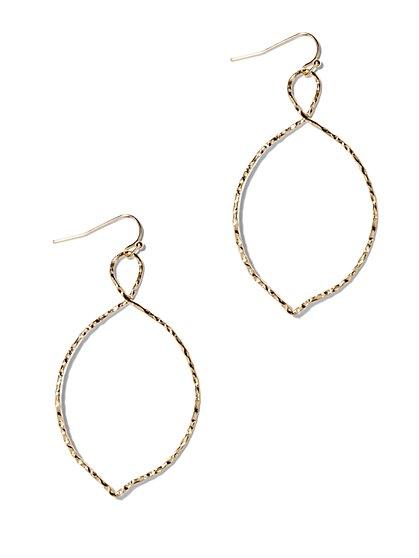 Textured Oval Twist Hoop Earring  - New York & Company