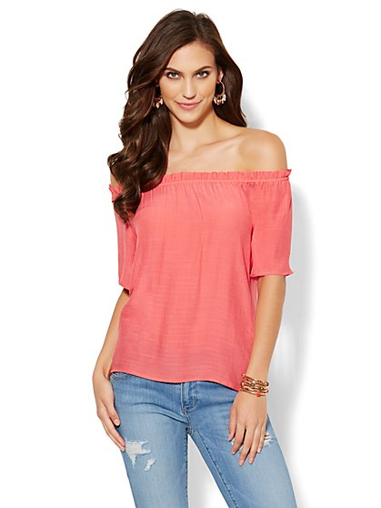 Textured Peasant Blouse - New York & Company