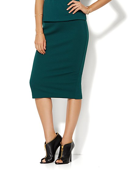 Textured Pencil Stretch Skirt  - New York & Company
