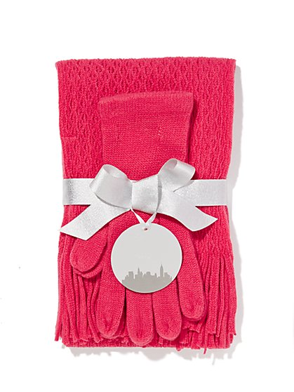 Textured Scarf & Gloves Gift Set  - New York & Company