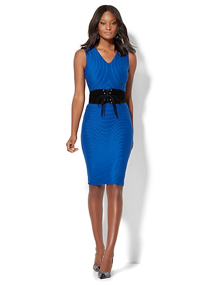 Textured Sheath Dress - Royal Blue  - New York & Company