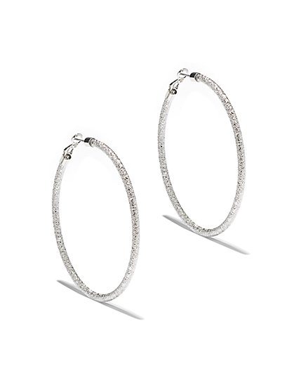 Textured Silvertone Hoop Earring  - New York & Company