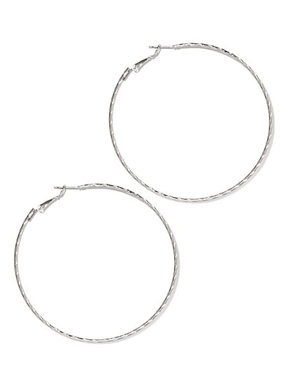 Textured Skinny Hoop Earring  - New York & Company