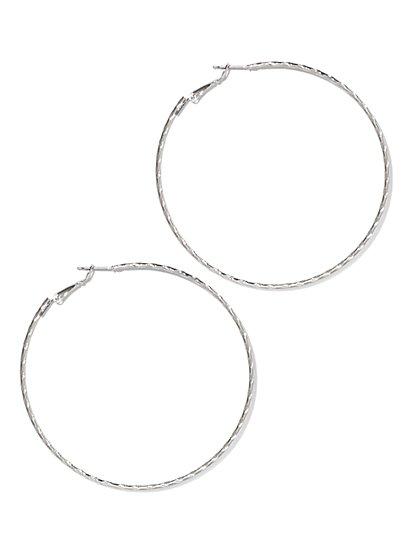 Textured Skinny Hoop Earring  - New York & Company