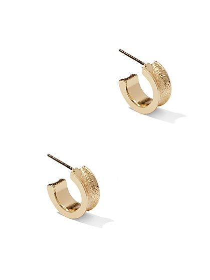 Textured Small Hoop Earring  - New York & Company
