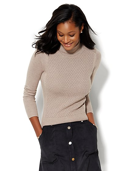 Textured-Stitch Turtleneck  - New York & Company