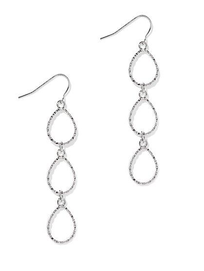 Textured Teardrop Linear Earring  - New York & Company