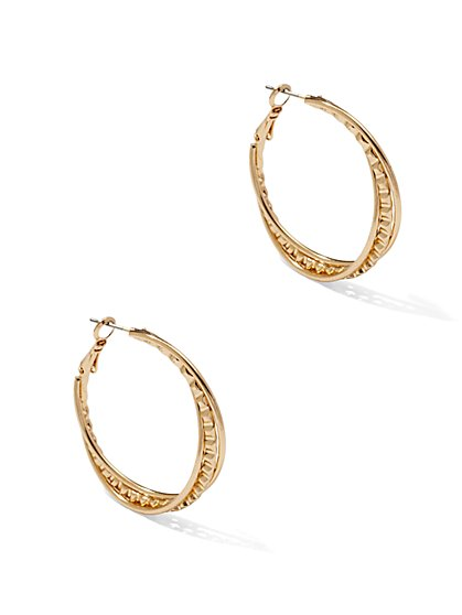 Textured/Twist Hoop Earrings  - New York & Company