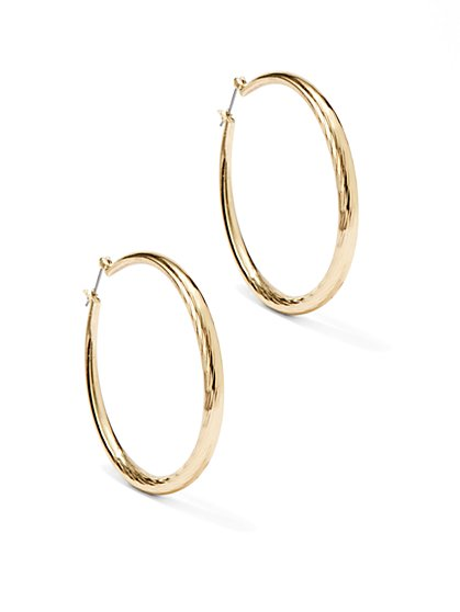 Textured Wide Hoop Earring  - New York & Company