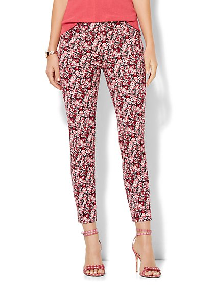 The Audrey Ankle Pant - Burgundy Floral  - New York & Company