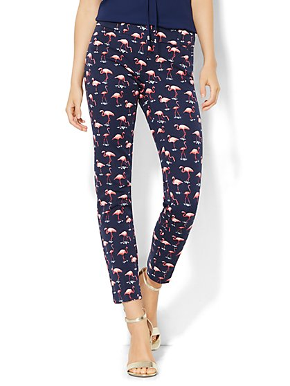 The Audrey Ankle Pant - Flamingo Print  - New York & Company