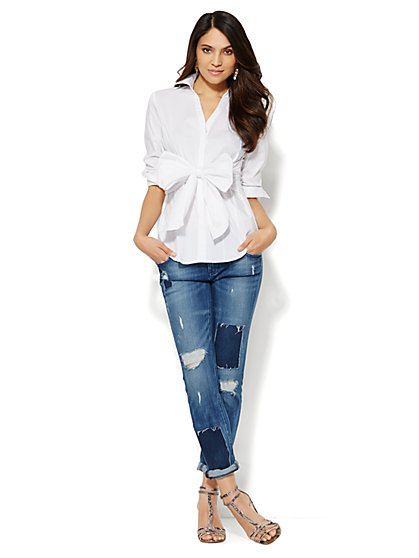 The Bow-Front White Shirt - New York & Company