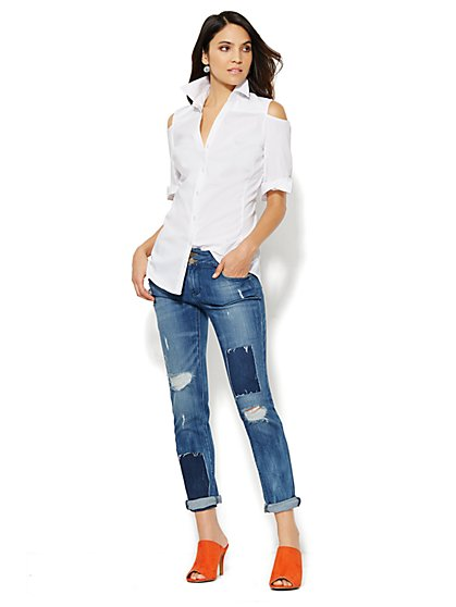 The Cold-Shoulder White Shirt - New York & Company