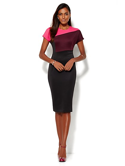 The Colorblock Scuba Midi Dress - New York & Company