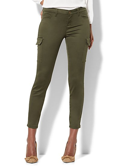 The Crosby Pant - Slim-Leg Cargo - Olive - New York & Company