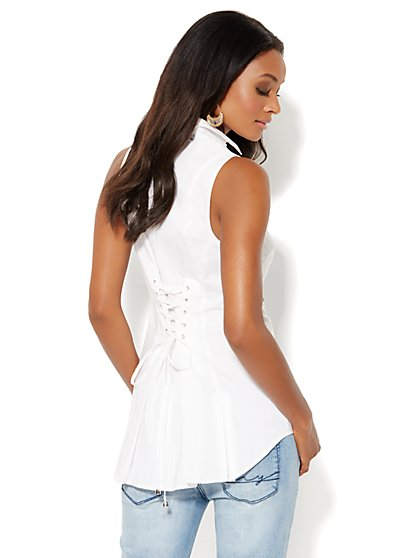 The Lace-Up White Shirt - New York & Company