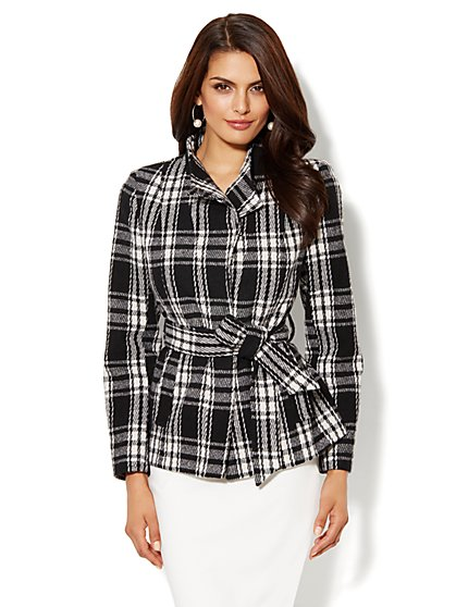 The Wrap Funnel-Neck Coat - Plaid - New York & Company