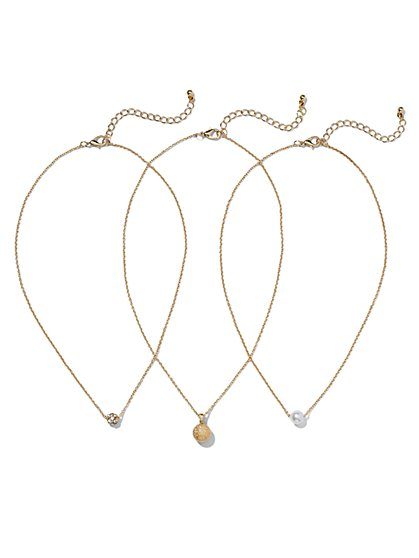 Three-In-One Goldtone Necklace  - New York & Company