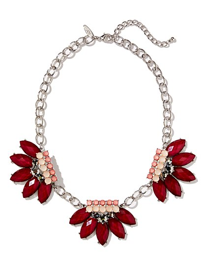 Three-Pendant Floral Statement Necklace  - New York & Company