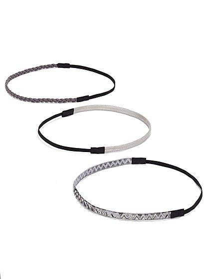 Three-Piece Headband Set- Silver - New York & Company