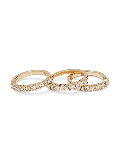 Three-Piece Pavé Ring Set  - New York & Company