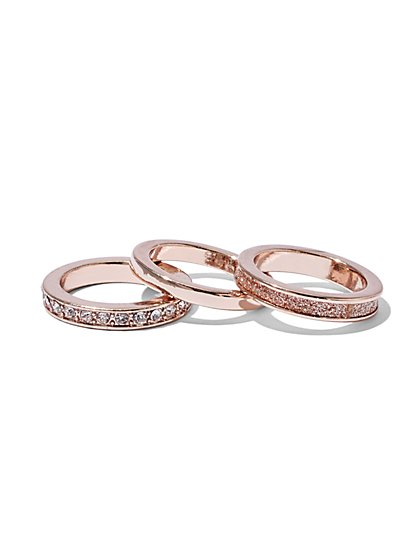 Three-Piece Rose-Goldtone Ring Set  - New York & Company