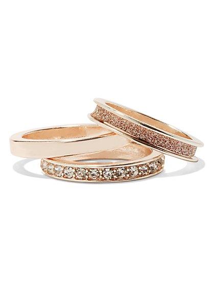 Three-Piece Rose-Goldtone Ring Set  - New York & Company