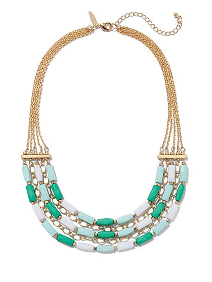 Three-Row Beaded Chain-Link Necklace  - New York & Company