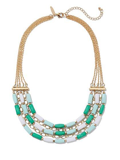 Three-Row Beaded Chain-Link Necklace  - New York & Company