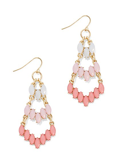 Three-Row Beaded Chandelier Earring  - New York & Company