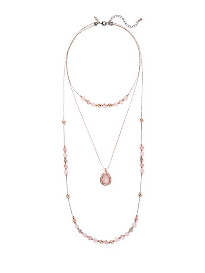 Three-Row Beaded Pendant Necklace  - New York & Company