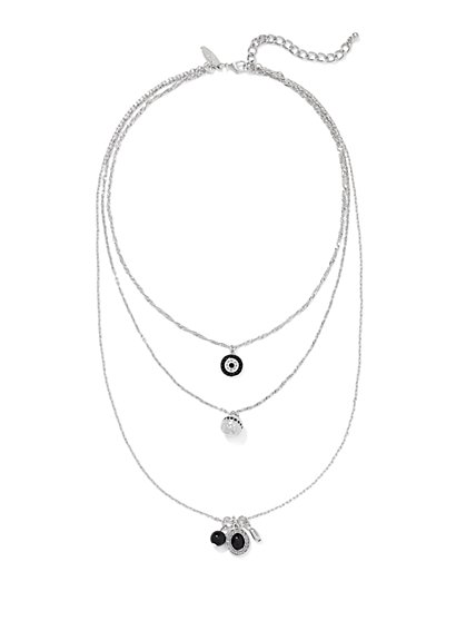 Three-Row Charm Pendant Necklace  - New York & Company