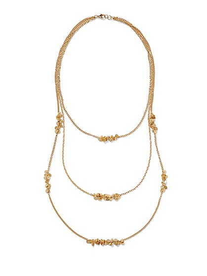 Three-Row Disc Necklace  - New York & Company