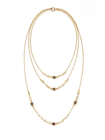 Three-Row Disk & Glass Accent Necklace  - New York & Company