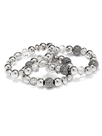 Three-Row Druzy Stretch Bracelet  - New York & Company