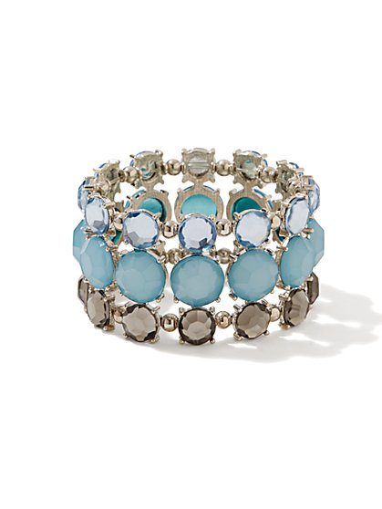Three-Row Faceted Bead Stretch Bracelet  - New York & Company