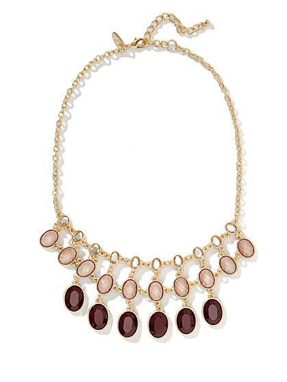 Three-Row Faceted Faux-Stone Necklace  - New York & Company