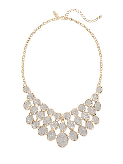 Three-Row Faux Druzy Bib Necklace  - New York & Company