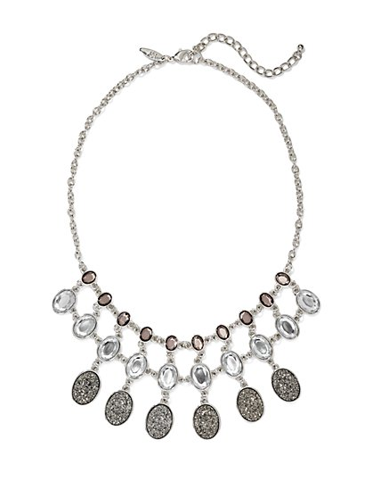 Three-Row Faux-Druzy Pendant Necklace  - New York & Company