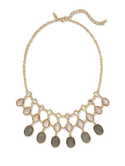 Three-Row Faux-Stone Bib Necklace  - New York & Company