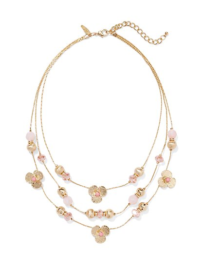 Three-Row Floral & Beads Necklace  - New York & Company