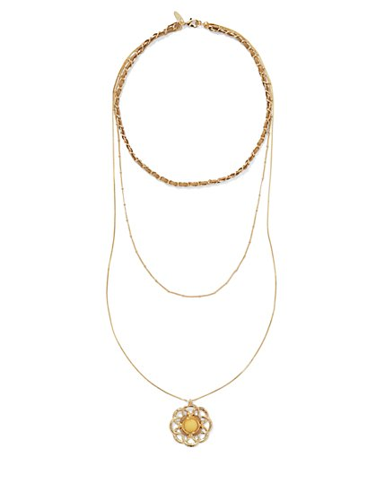 Three-Row Floral Pendant Necklace  - New York & Company