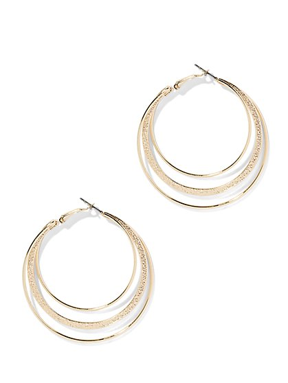 Three-Row Hoop Earring  - New York & Company
