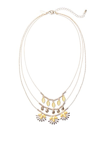 Three-Row Layered Goldtone Necklace  - New York & Company