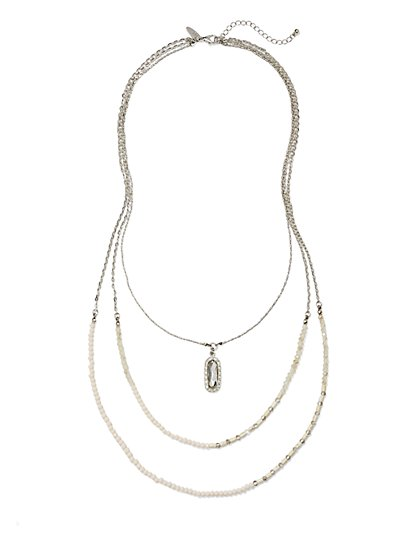 Three-Row Layered Pendant Necklace  - New York & Company