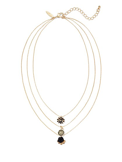 Three-Row Layered Pendant Necklace  - New York & Company
