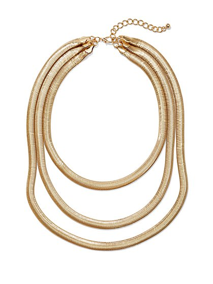 Three-Row Snake Chain Necklace  - New York & Company
